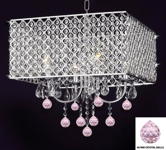 Modern Contemporary Chrome / Crystal 4-light Square Ceiling Chandelier Chandeliers Lighting With Crystal Pink Balls!
