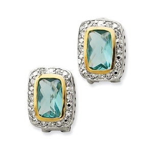 .925 Sterling Silver 18 MM Flash Gold-Plated CZ Omega Back Earrings