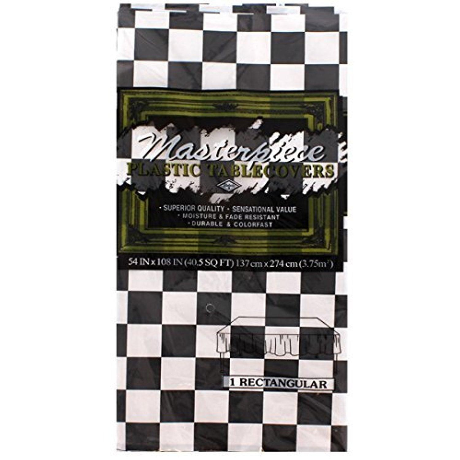 Black and White Check for Racing Party Tablecover by Partyrama