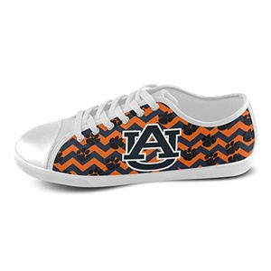 H-ome Art Ncaa Auburn Tigers Men's Low-top Lace-Up Canvas Shoes Casual Sneakers ,White