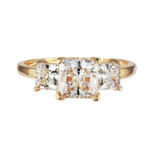GR01040 SOLID 14K YELLOW OR WHITE GOLD 1.5CT TW 1CT CENTER / 0.25CT EACH SIDE PRINCESS CUT SQUARE CUBIC ZIRCONIA THREE STONE RING (yellow-gold, 6.5)