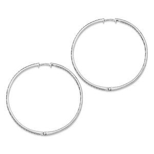 .925 Sterling Silver 64 MM Diamonds In & Out Hoop Earrings