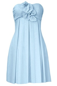 MILANO BRIDE Simple Maternity Prom Dress Strapless Empire-Waist A-line Flower-18W-Light Sky Blue(short)