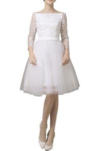 MILANO BRIDE Short Wedding Reception Dress Bateau Long Sleeves Prom Party Dress-2-White