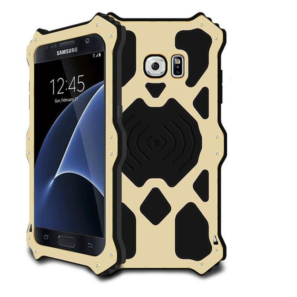 Galaxy S7 Metal Case,Bpowe Luxury Aluminum Alloy Protective Case, Metal Bumper Armor Aluminum Shockproof Military Heavy Duty Protector Case Cover for Samsung Galaxy S7 5.1 inch (MK2-Gold)
