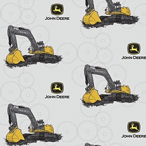 John Deere Excavator Light Gray Fabric From Springs Creative By the Yard