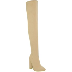 Fashion Thirsty Womens Thigh High Stretch Lycra Boots Over The Knee High Heels Size 5