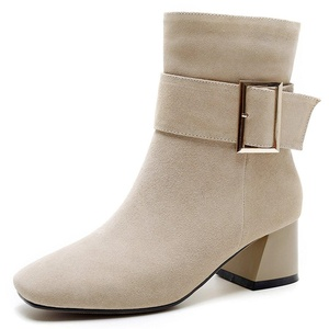 Nine Seven Suede Leather Women's Square Toe Chunky Heel Buckle Handmade Ankle Bootie (9.5, camel)