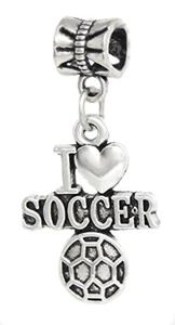 Cherityne Dangling I Love Soccer Fit Pandora Charm Silver Plated Bead