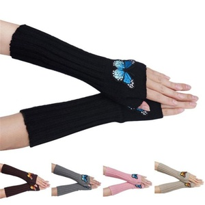 HN Women Embroidery Butterfly Knitting Arm Warmer Half Fingerless Gloves