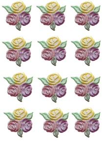 Lot of 12Pcs Applique Patches Logo Patterns Small Yellow/Purple/Pink Rose Flower Embroidery Iron On Applique Patch Sewing Lace Embroidered Craft Supply Fabric Decorative,Size 1-3/8