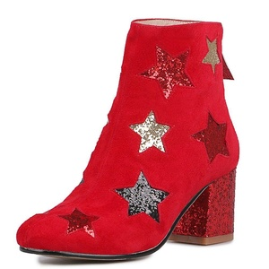Nine Seven Suede Leather Women's Round Toe Chunky Heel Star Print Handmade Ankle Bootie (4.5, red)