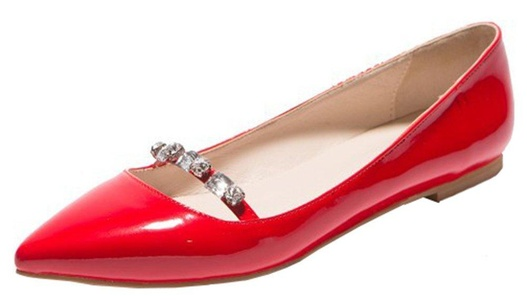 IDIFU Women's Elegant Rhinestones Pointed Toe Flats Low Top Slip On Wear To Work Loafers Shoes Red 5.5 B(M) US