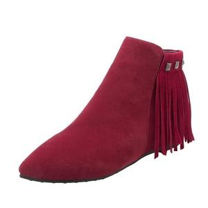 Show Shine Women's Zip Point Toe Hidden Heel Tassels Ankle Boots (12, black)