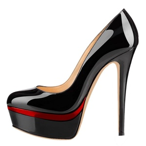 Maikool Women's Closed Toe Stiletto Heels Platform Pumps Ladies High Heel Patent Prom Shoes 13 M US Black+Red