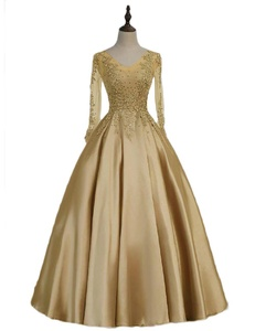 Favors Women's Elegant Lace Long Sleeve Mother of the Bride Dress Gown Champagne 22W