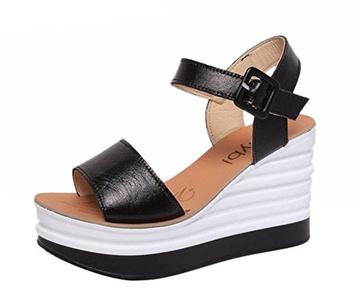 Freerun Women's Fashion Ankle-Strap Adjustable Buckle Wedge Heel Sandals (5.5 B(M)US,black)