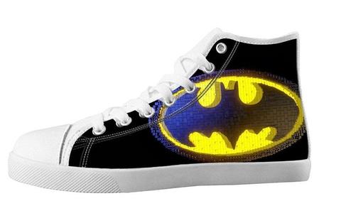 For Batman Design High Top Lace Up Canvas Custom For Men's Shoes-11M(US)