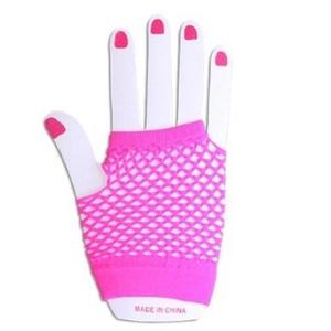 Fancy Dress - 1 Pair Of Short Neon Hot Pink Fingerless Fishnet Gloves by Gloves