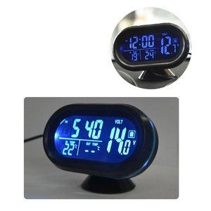 Car Clock, LED Lighted Digital Car Clock Thermometer Auto Dual Temperature Gauge Voltmeter Voltage Tester DC 12-24V, Blue