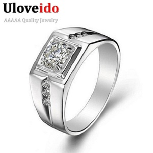 Dudee Jewelry CZ Ring for Men Vintage Jewelry Crystal Anel Masculino Joias Engagement Wedding Ring J473