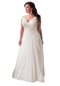 Angel Formal Dresses Women's V Neck Pleated Applique Chiffon Wedding Dress (14, White)
