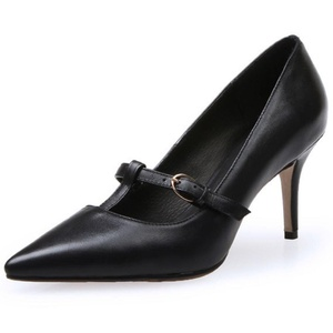 TAOFFEN Women Pumps Mary Jane Red Pointed Toe Sexy Elegant Shoes (4 B(M) US, Black)