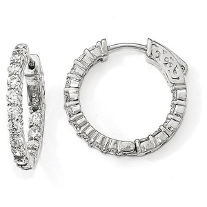 Sterling Silver Rhodium-plated CZ In & Out Hoop Earrings QE12994