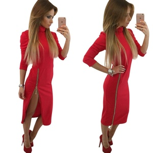 Doreen Women's Turtleneck Long Sleeve Zipper Slit Bodycon Cocktail Party Midi Dress Red Size L