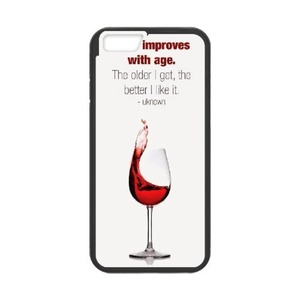 [Luo diedie]Call Phone Case for iPhone 6s plus Black with Red Wine Glass Series of Pattern on