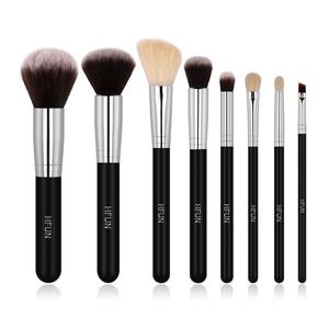 HFUN Premium Synthetic Bristles/ Renewable Goat Hair 8 Pcs Makeup Brush Set for Foundation Blush Concealer Powder Bronzer Highlight Eyeliner Eyebrow Blending with Brush Cleaner + Cosmetic Bag(Black)