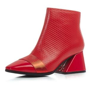 Nine Seven Genuine Leather Women's Square Toe Chunky Heel Handmade Ankle Bootie (6, black)