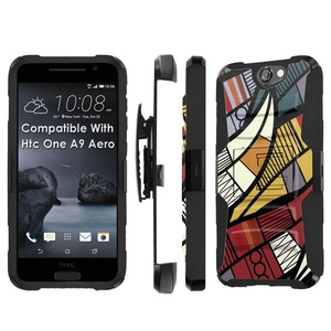 Htc [One A9] Armor Case [SlickCandy] [Black/Black] Heavy Duty Defender [Holster] [Kick Stand] - [Floral Element] for Htc One [A9 Aero]