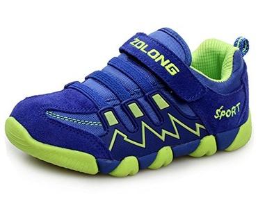 LONSOEN Boys Girls Athletic Velcro Strap Light Weight Running Sneakers Shoes(Toddler/Little Kid),Light Blue,11 M US Toddler