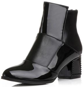 Summerwhisper Women's Sexy Color Block Round Toe Booties Back Zipper Block Mid Heel Ankle Boots Black 10.5 B(M) US