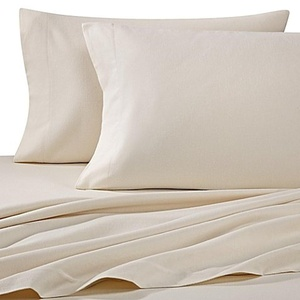 Luxury Portuguese Flannel Solid Queen Sheet Set in Ivory