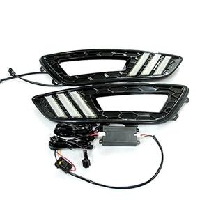 Hrph 1pair DRL LED Daytime Running Light Fog Lamp For Ford Focus 2015 6000K Super White