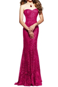 MILANO BRIDE Classy Strapless Mermaid Sequins Women's Evening Dress Pageant Gown-14-Peach