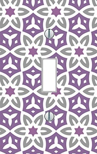 Single Light Switch Plate abstract purple gray flowers retro art living room bedroom kitchen dining family room modern floral Home Decor USA made