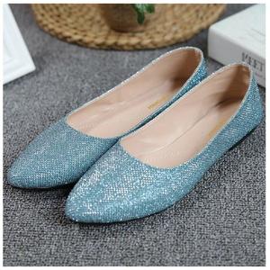 Hanxue Women's Pointed Toe Shoes Wedding Dress Slip On Flat Loafar Shoes Blue US 7.5