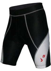 X-2 Men's Bicycle Biking 3D DI-Molded Padded Cycling Shorts White-Seam Black S