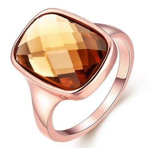 Cherryn Jewelry Vintage Zircon Champagne Color Plated Rose Gold Beautiful Simple Wedding Woman Men Ring High-End Classy Smooth Ring
