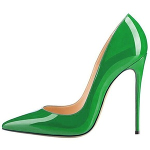 Lovirs Womens Green Patent Pointed Toe High Heel Slip On Stiletto Pumps Large Size Wedding Party Basic Shoes 4 M US