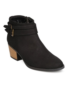 Qupid FF12 Women Nubuck Pointy Toe Perforated Wrap Buckle Chunky Heel Bootie - Black (Size: 9.0)