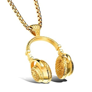UM Jewelry Mens Womens Stainless Steel Music Headset Headphones Pendant Necklace