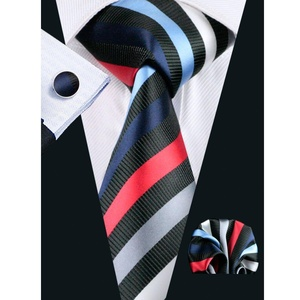 Hi-Tie Mens Black Striped Silk Tie Hanky Cufflinks set (Striped)