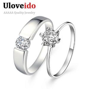 Dudee Jewelry Crystal Simulated Jewelry Wedding Band Engagement Ring Men Women Accessories Aliancas de Casamento J002