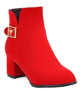 CHFSO Women's Fashion Solid Round Toe Buckle Zipper Mid Chunky Heel Ankle Boots Red 6 B(M) US