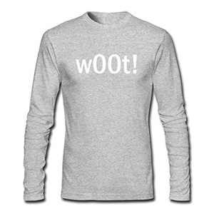 w00t! for Men Printed Long Sleeve Cotton T-shirt