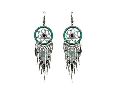 Daisy Dream Catcher Earrings (Teal/Mint/White)